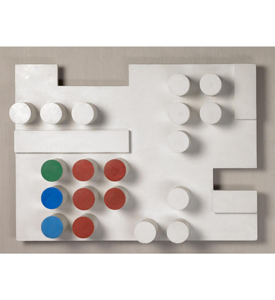 Relief rectangulaire, rectangles découpés, rectangles appliqués et cylindres surgissants <br>(Rectangular Relief with Cutout Rectangles, Applied Rectangles and Rising Cylinders)
