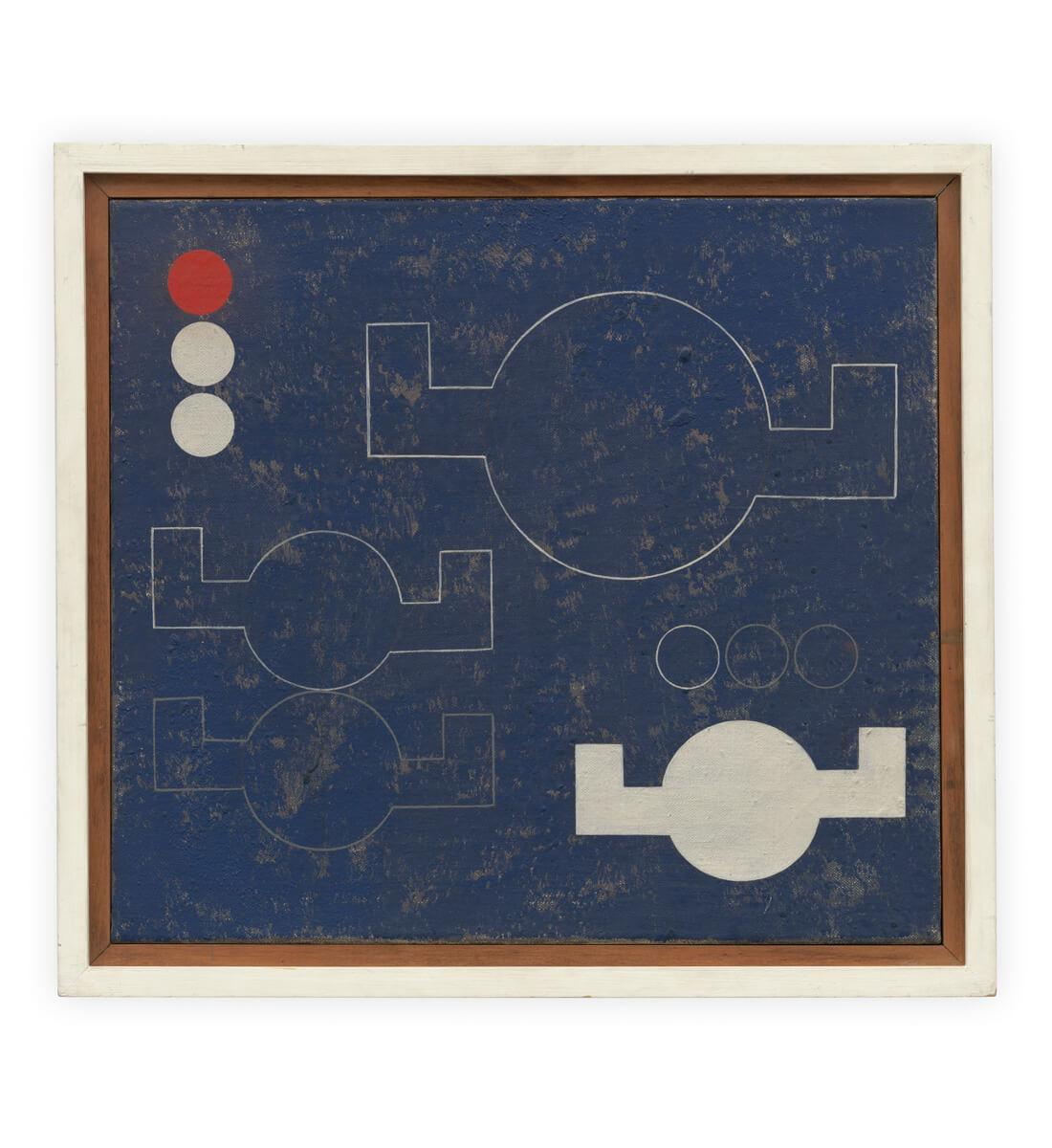 Composition à cercles-à-bras angulaires en lignes et plans <br>(Composition with circles with angular arms in lines and planes)