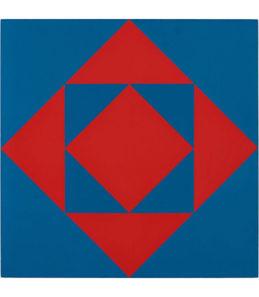 Carrés et triangles rouges et bleus (Red and Blue Squares and Triangles)